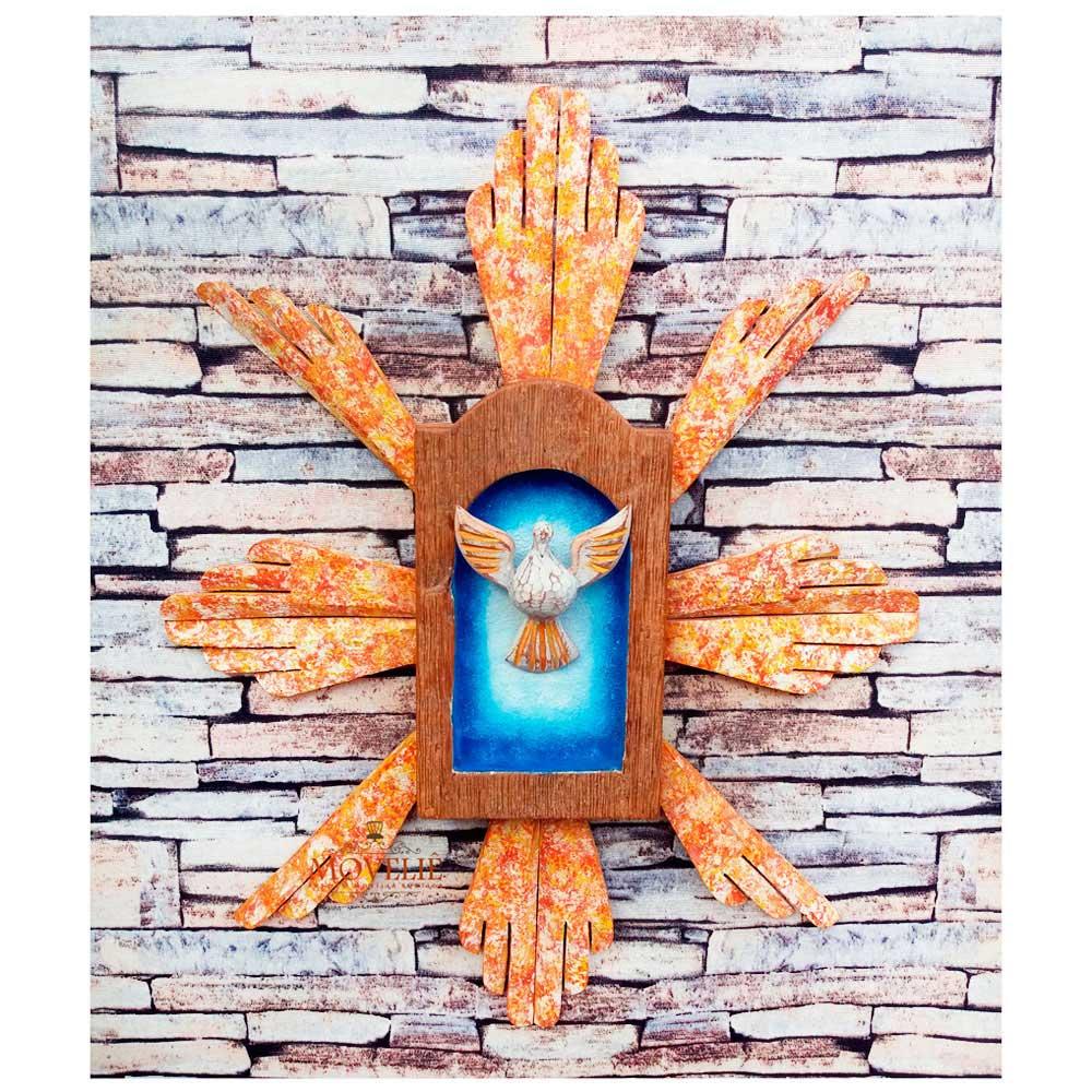 Divino Espírito Santo Resplendor - Policromia Laranja 40x32