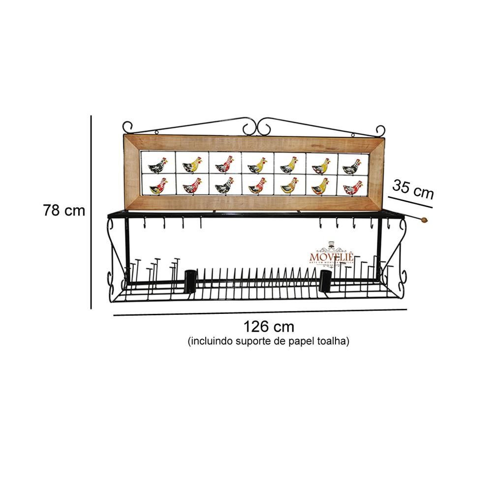 Escorredor de louça de parede caipira 1,2 metro