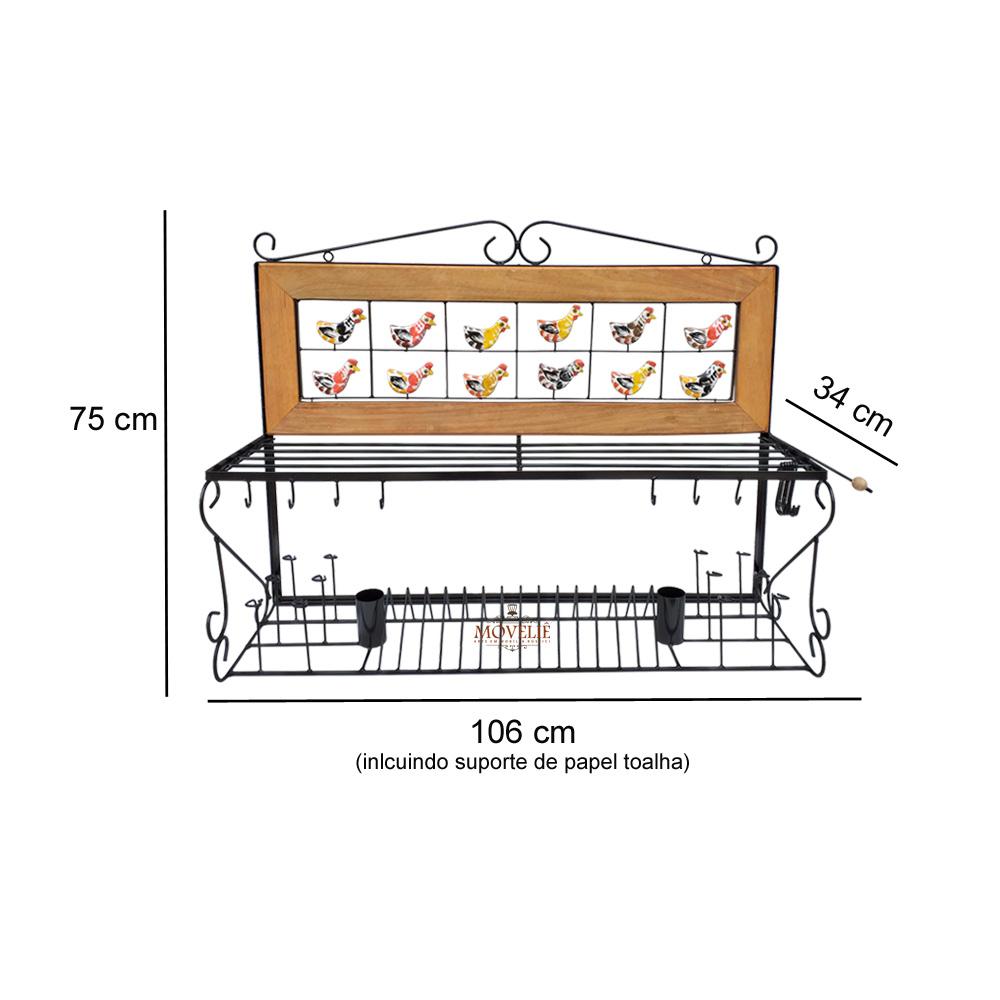 Escorredor de louça de parede caipira 1 metro