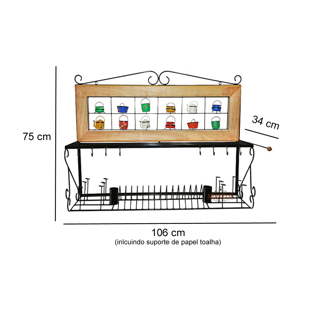 Escorredor de louça de parede panelas 1 metro