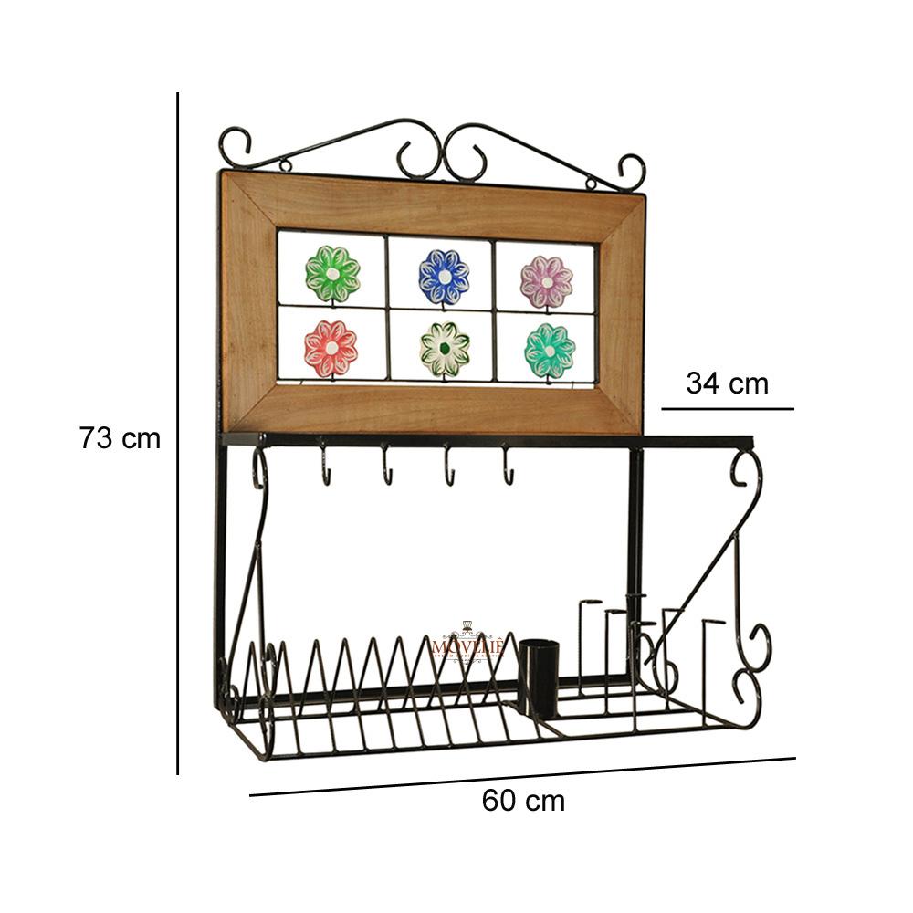 Escorredor de louça de parede flores 60 cm