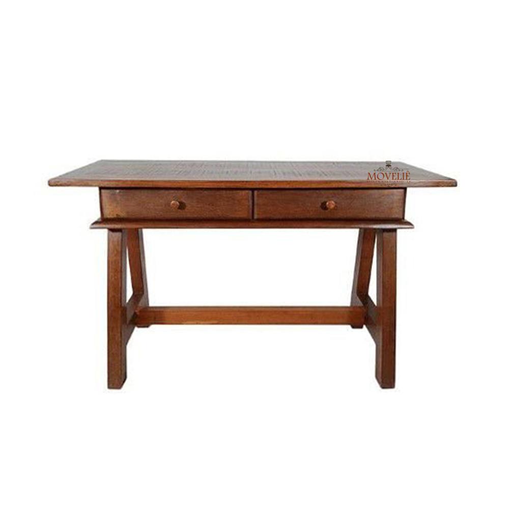 Escrivaninha de madeira com gavetas cavalete