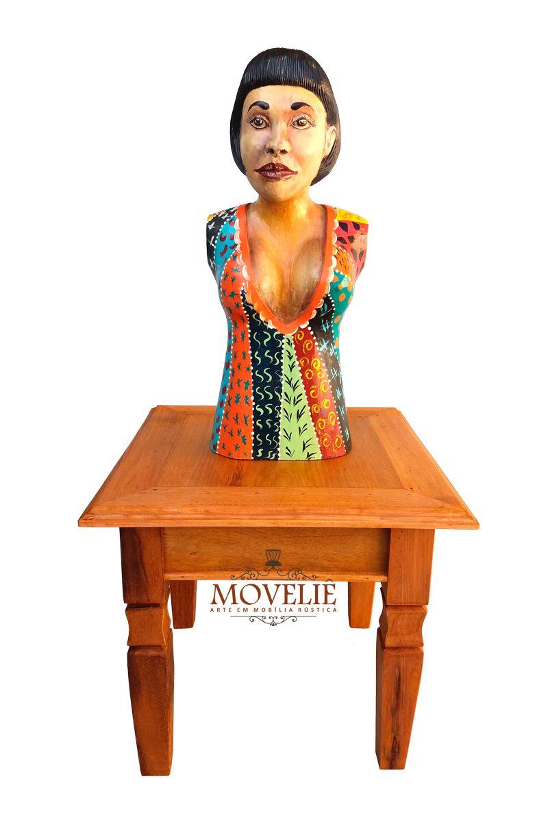 Escultura Africana em Madeira Maciça - 57x24