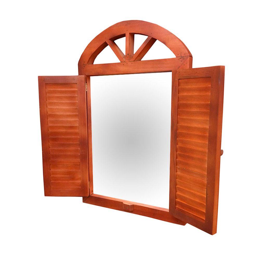 Espelho Decorativo para Banheiro 60 cm - Madeira