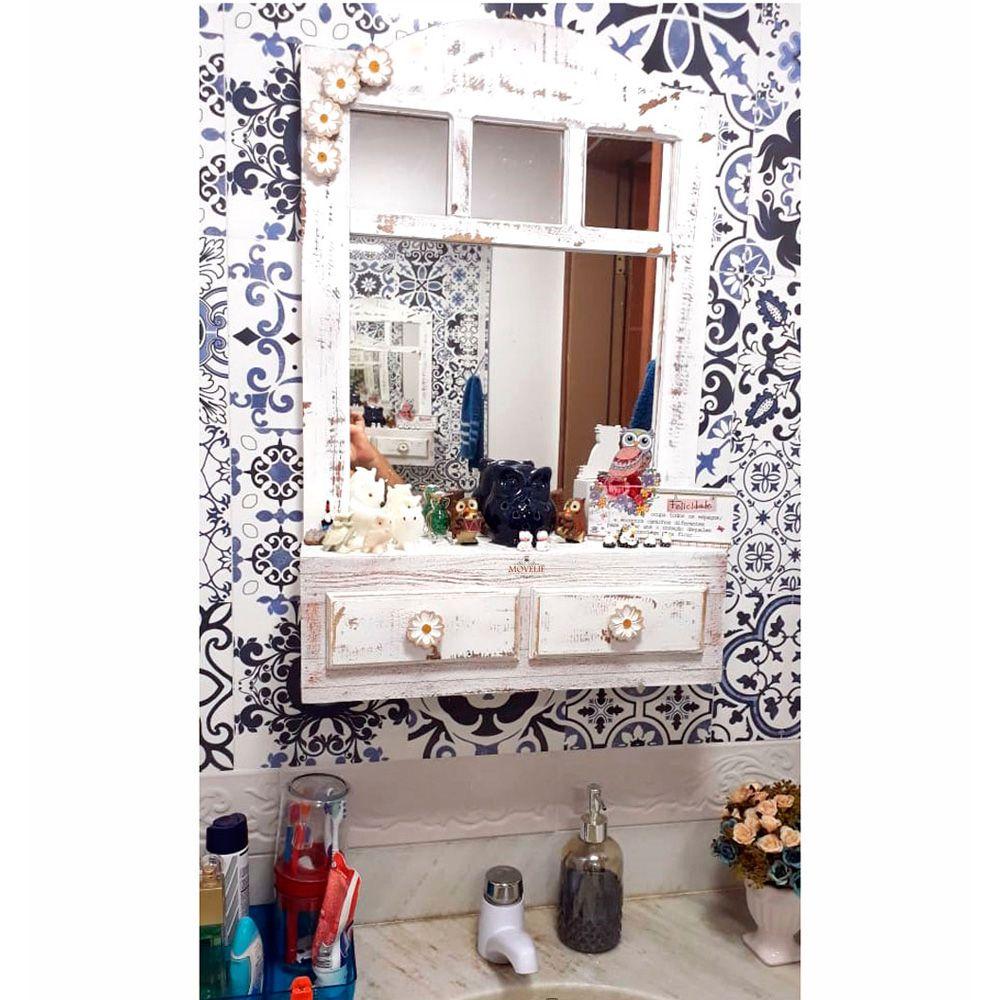 Espelho Decorativo para Banheiro com Gavetas 70 Cm - Pátina Branca