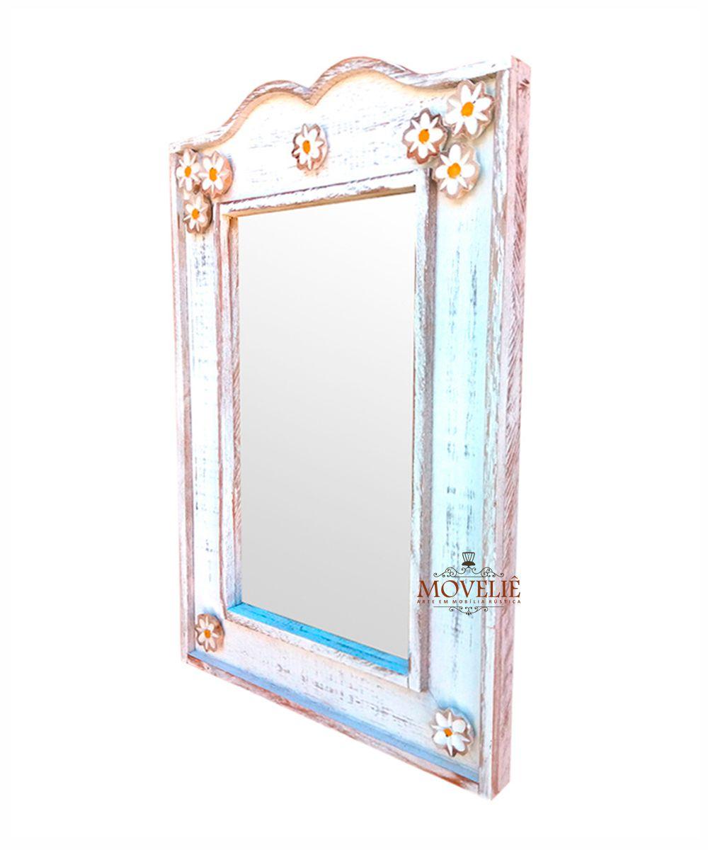 Espelho Decorativo Rústico 53 cm - Branco