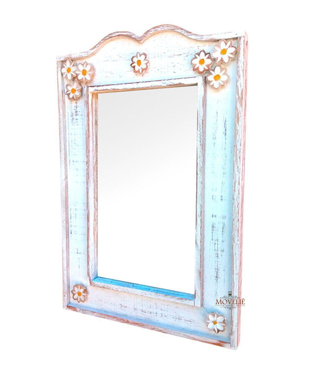 Moldura de espelho para banheiro branco 60x40