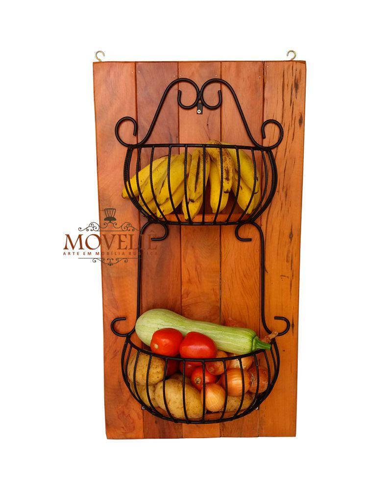 Fruteira de parede - madeira de demolição