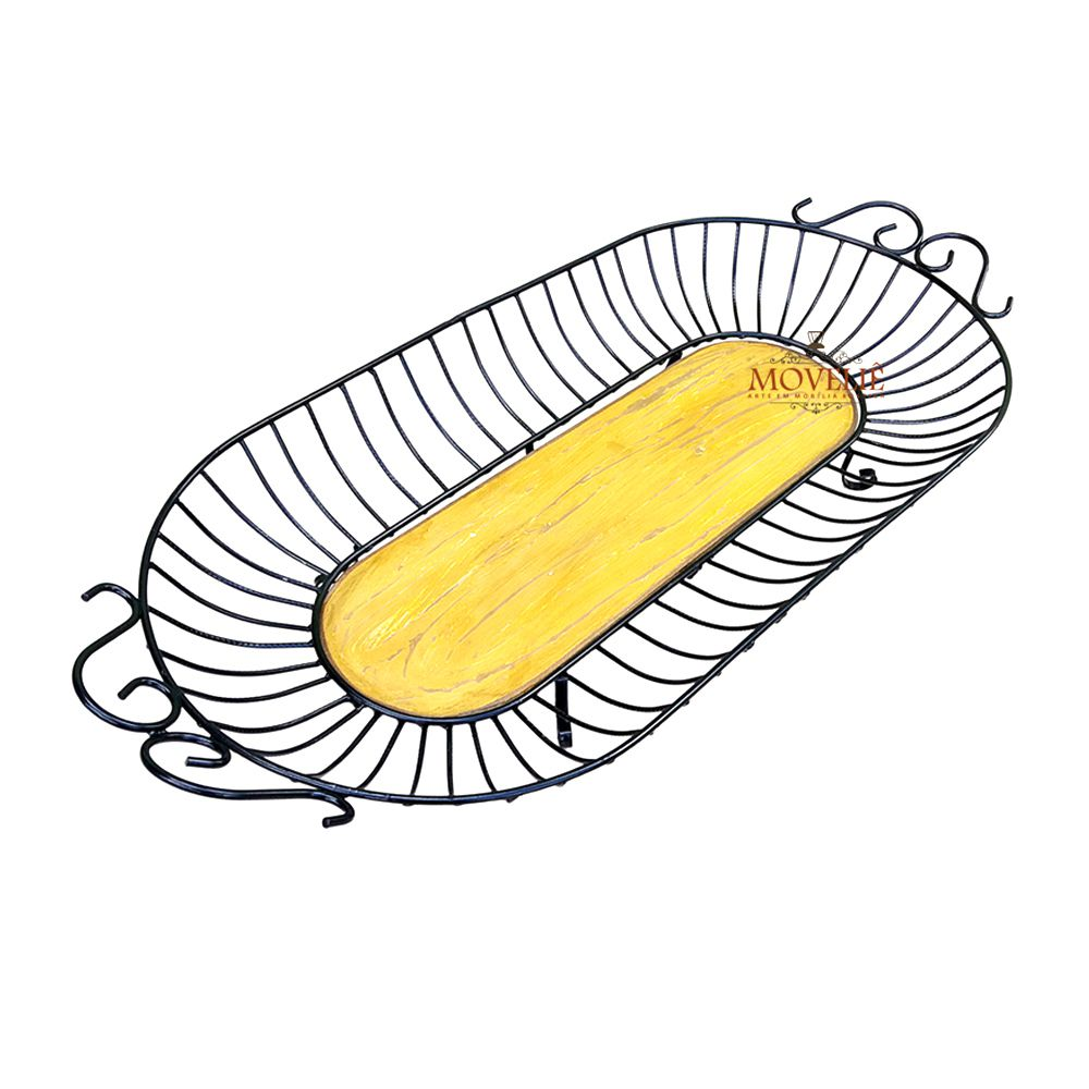 Fruteira de Mesa Ferro e Madeira - Amarela