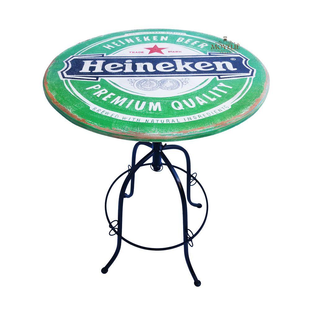 Jogo Bistrô Cerveja Heineken com Mesa e Banquetas