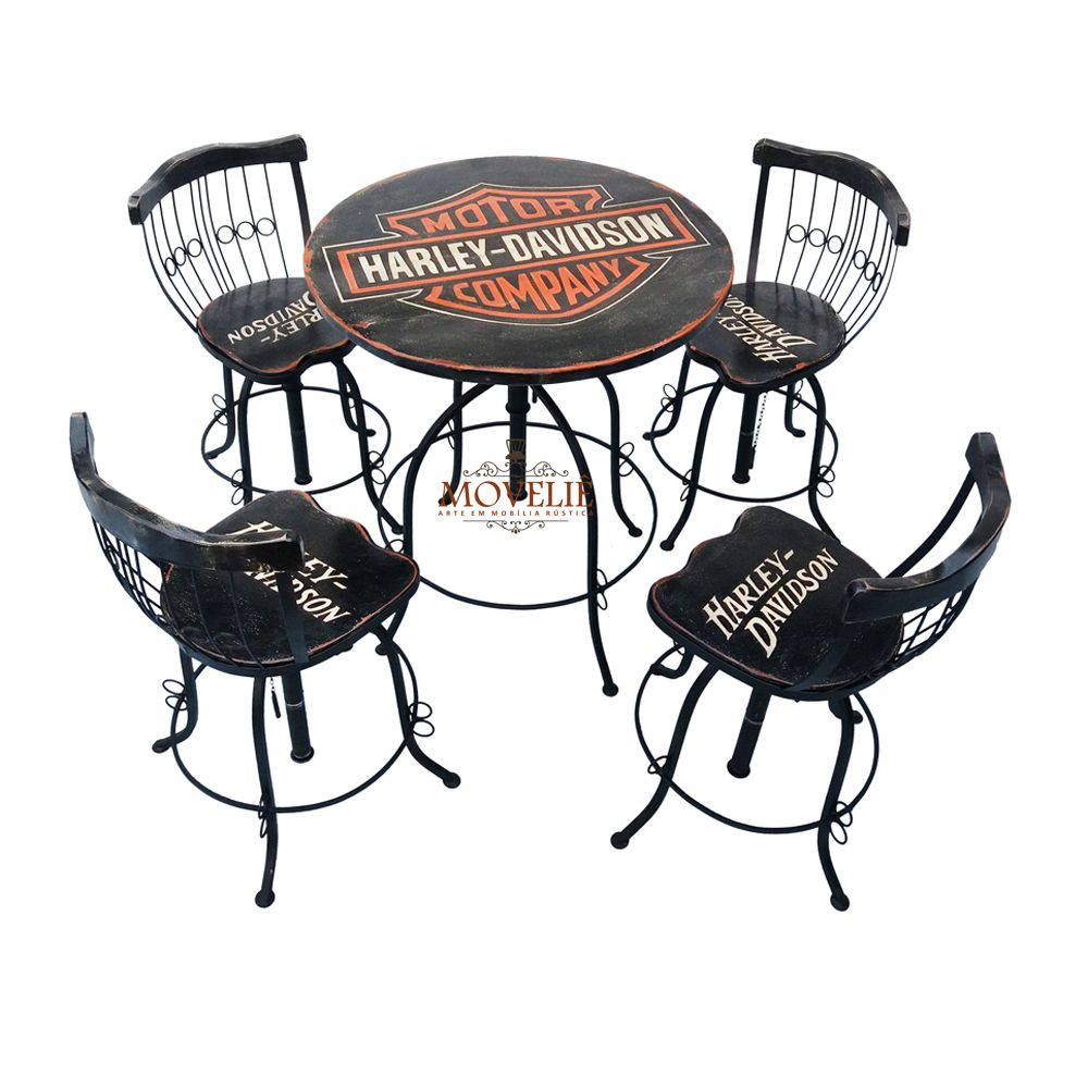 Jogo Bistrô Harley Davidson Black com Mesa e Banquetas