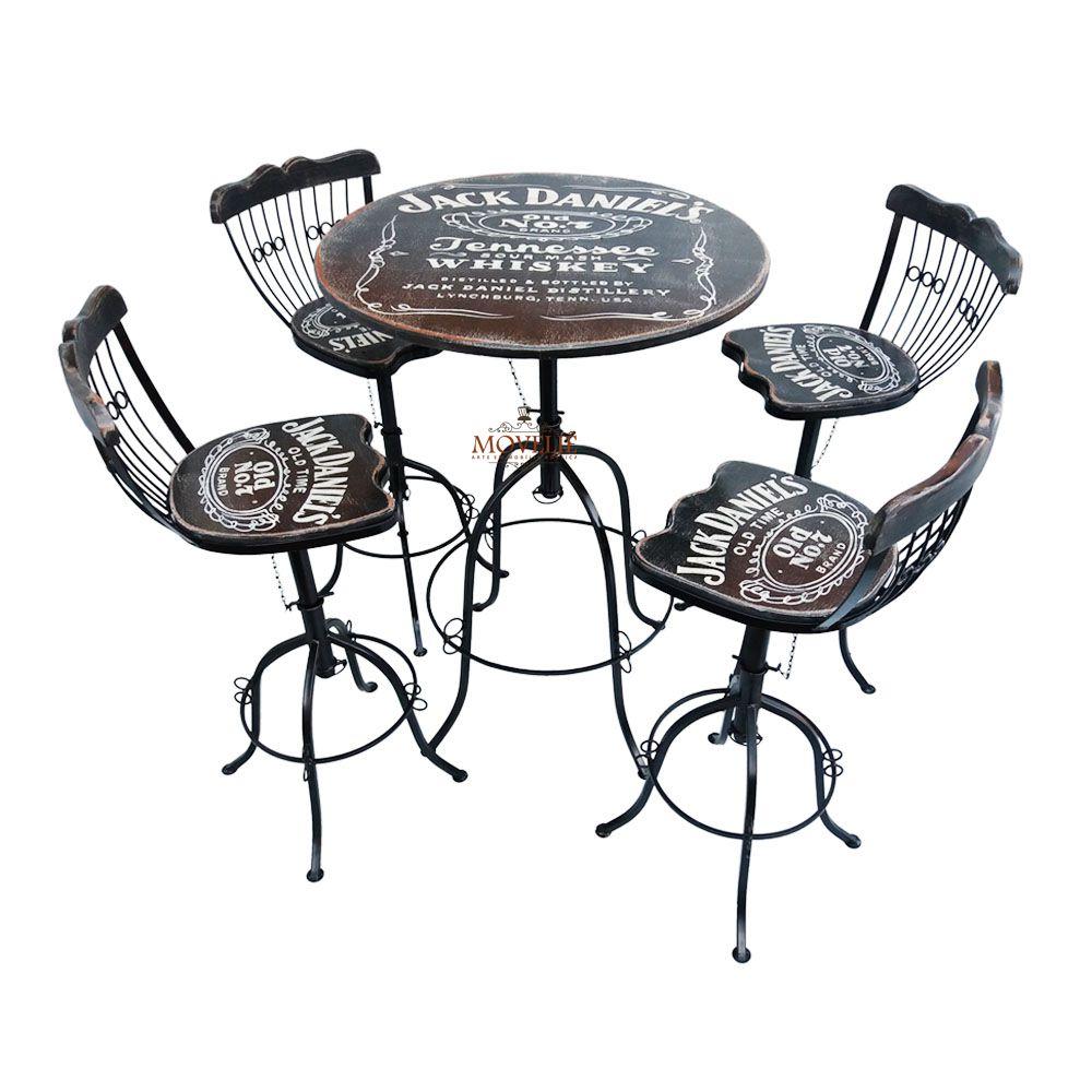 Jogo Bistrô Jack Daniel's com Mesa e Banquetas