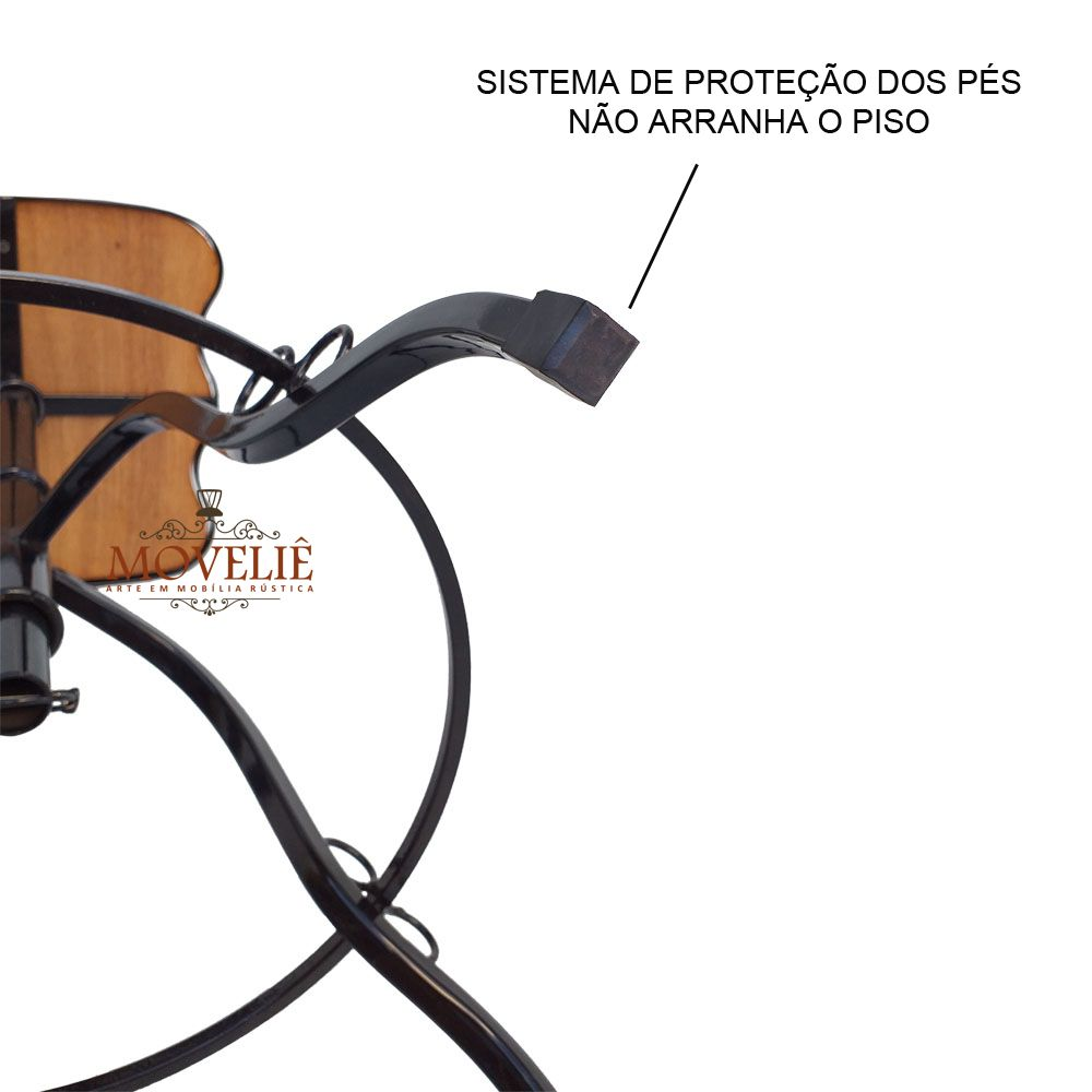 Jogo Bistrô Rústico Ferro e Madeira Inteiriça 70 cm