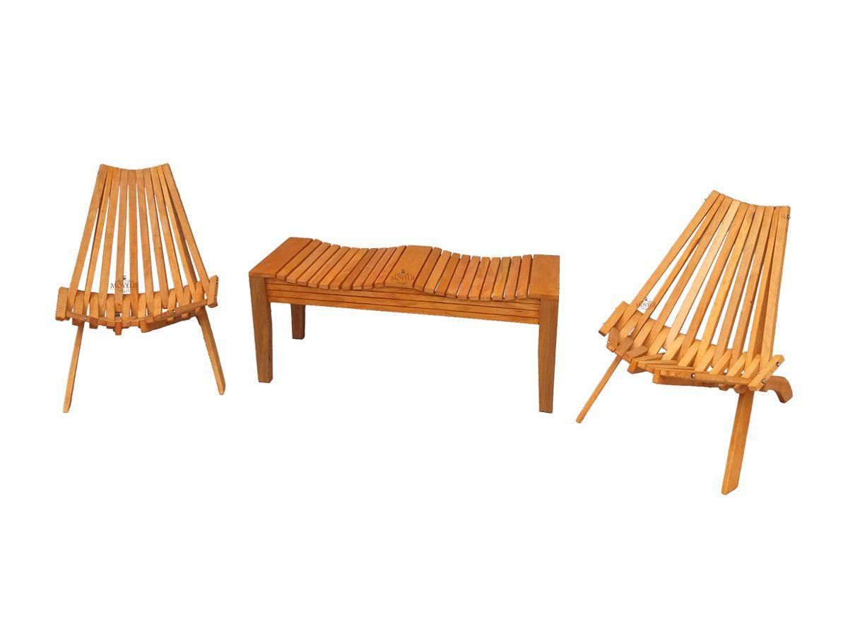 Jogo Cadeira Peruana Dobrável e Banco em Madeira