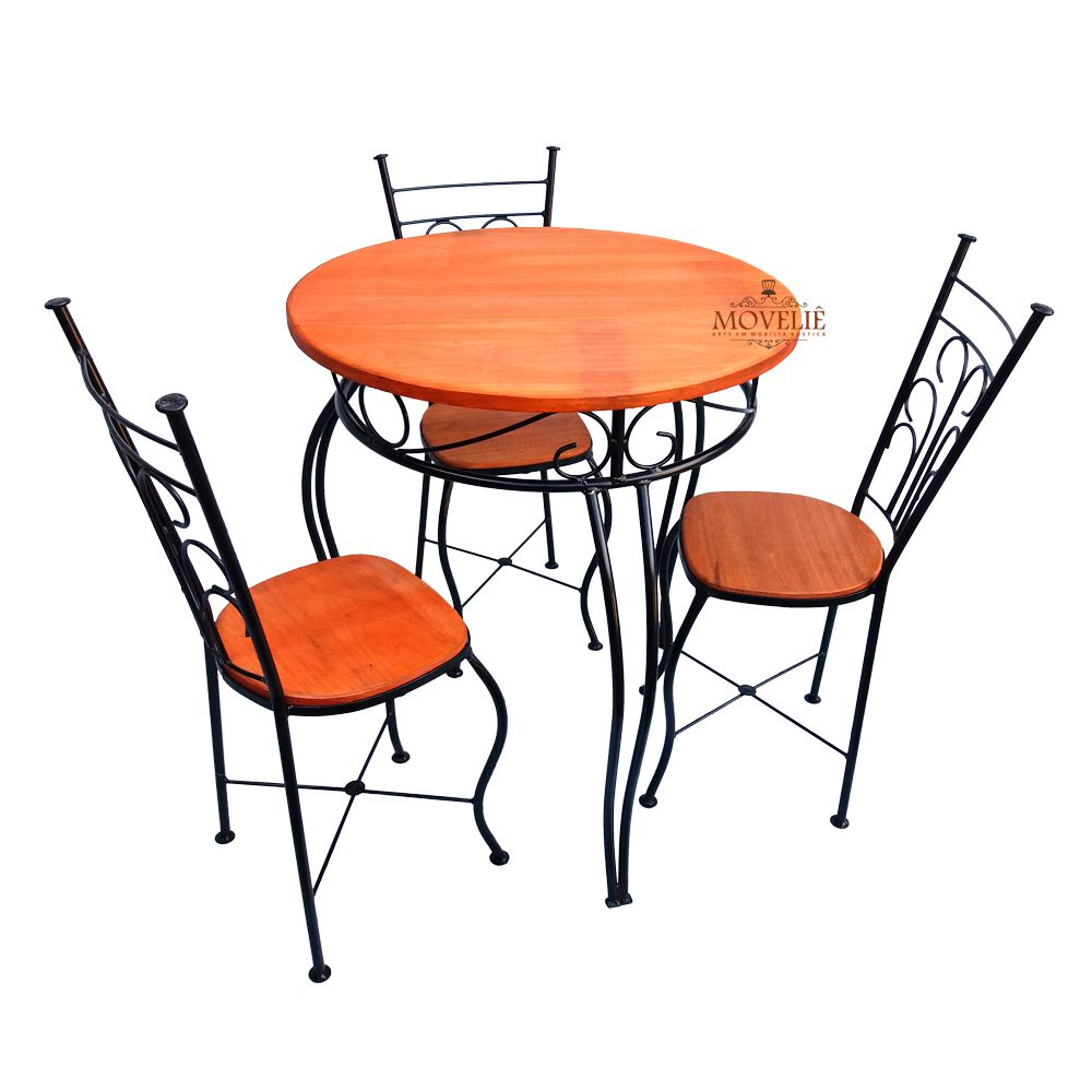 Jogo de Mesa e Cadeiras Rústicas em Ferro e Madeira