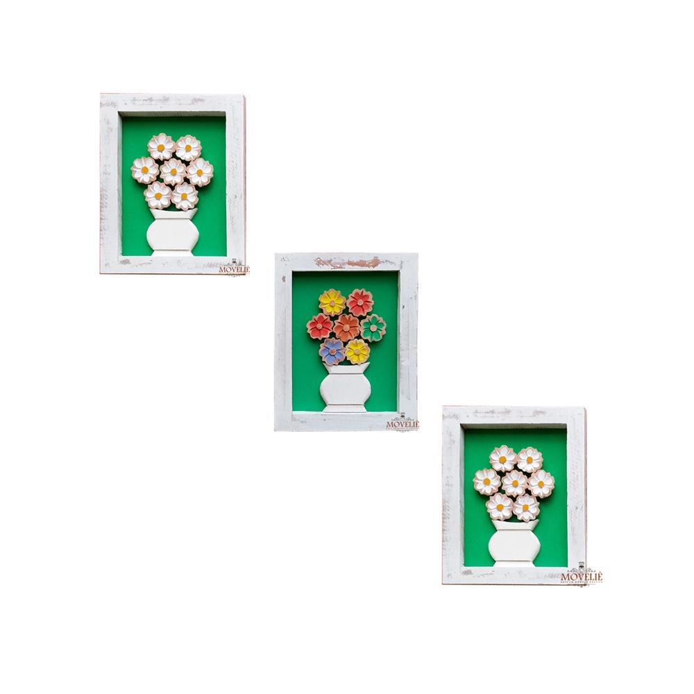 Kit quadro rústico flor colorida e branca em madeira verde