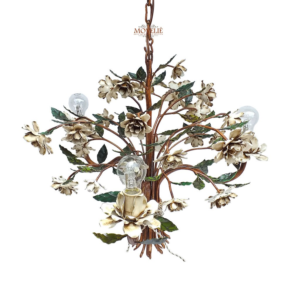 Luminária colonial pendente de teto - roseira