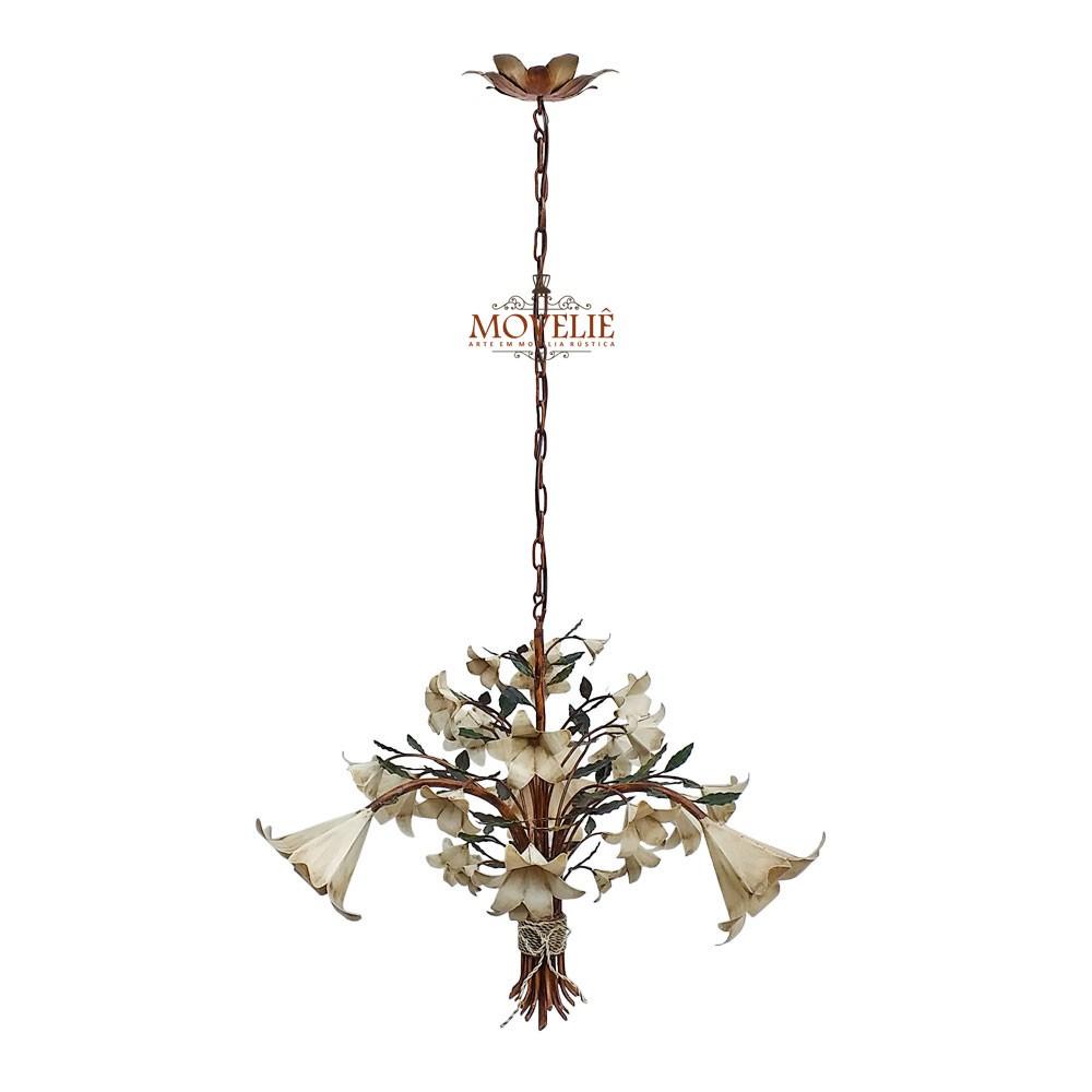 Luminária colonial pendente de teto - trombeta