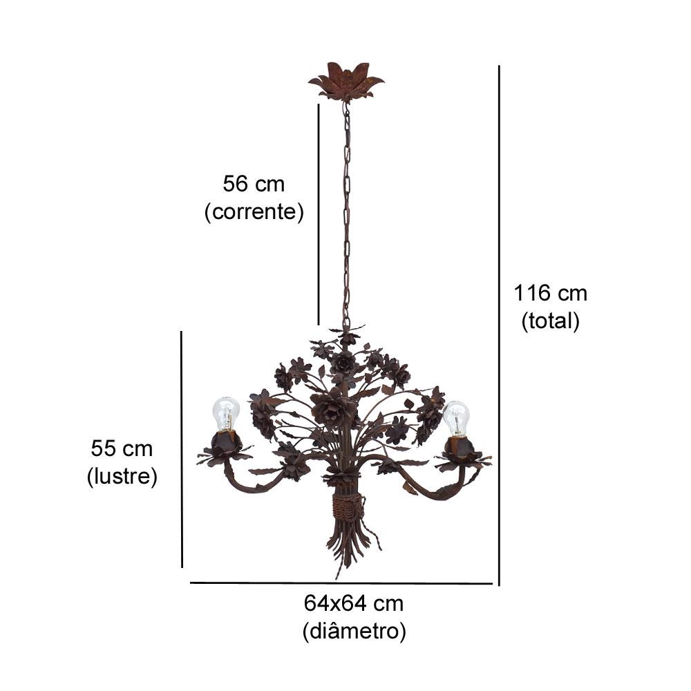 Luminária rústica decorativa flor de roseira