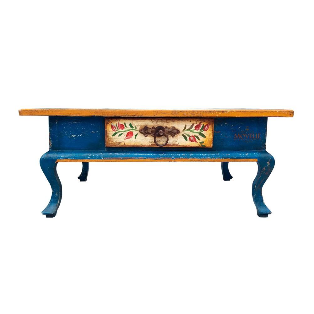Mesa de Centro Rústica Provençal Francês - Azul