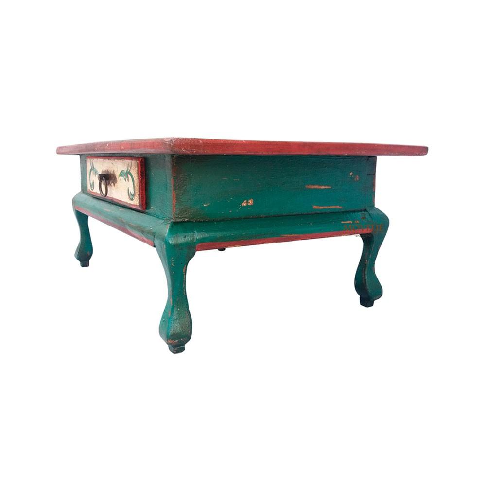 Mesa de Centro Rústica Provençal Francês - Verde Musgo