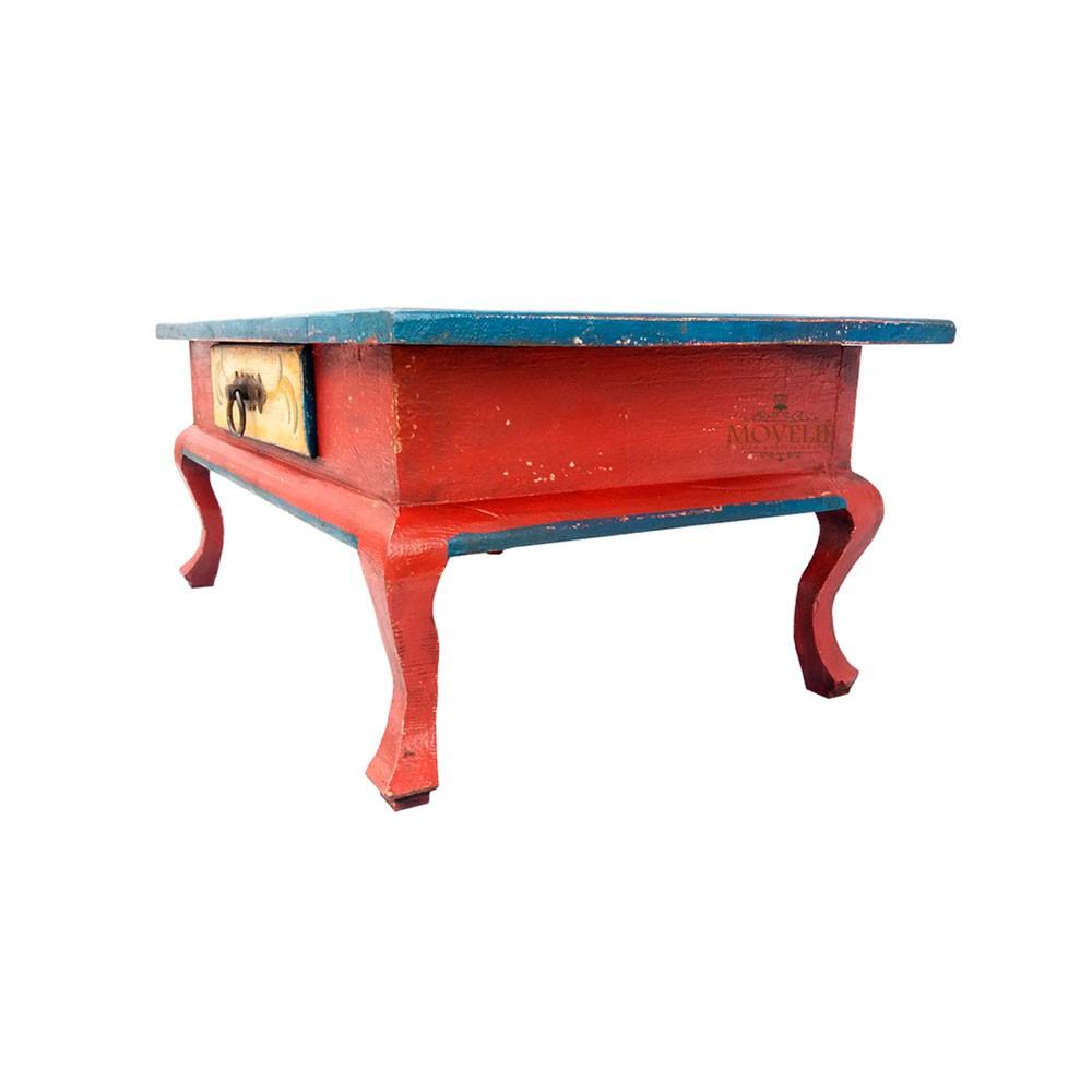 Mesa de Centro Rústica Provençal Francês - Vermelha