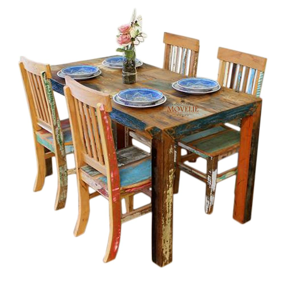 Mesa de Jantar 4 Cadeiras com Pátina Colorida