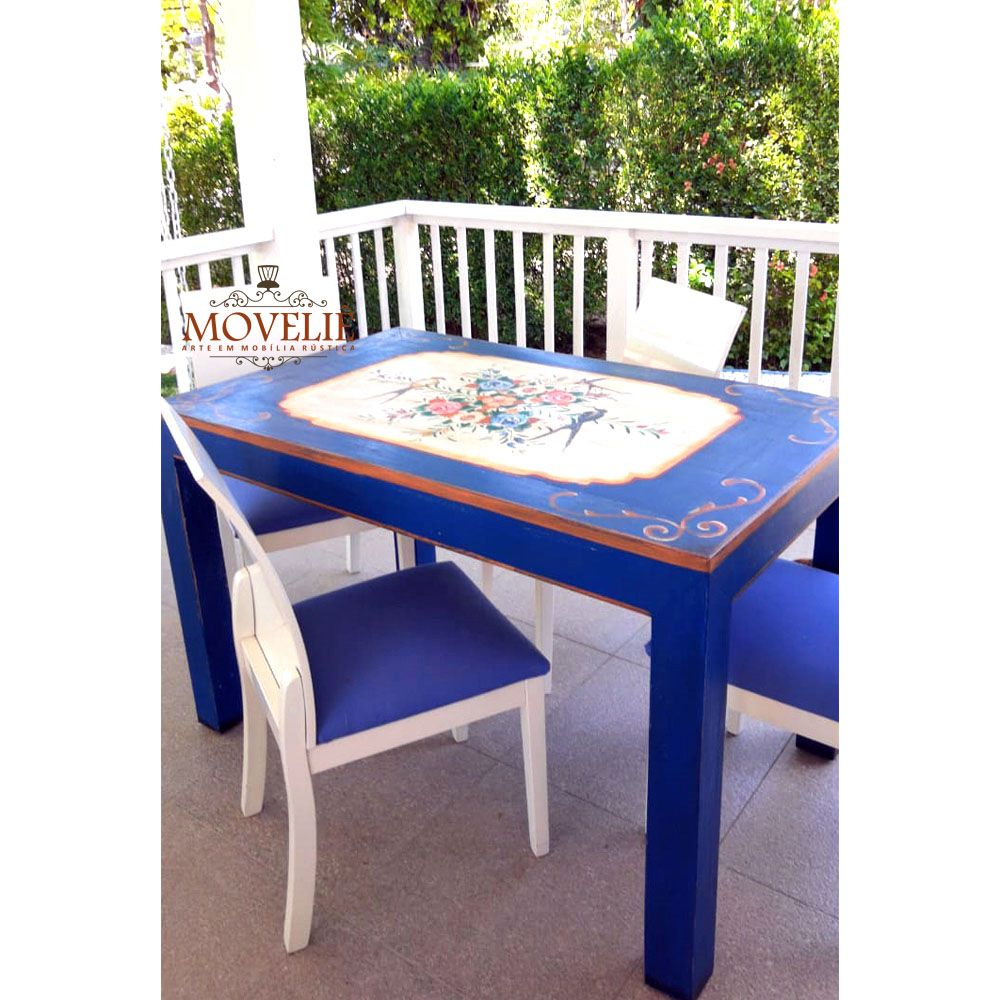 Mesa de Jantar Azul Royal