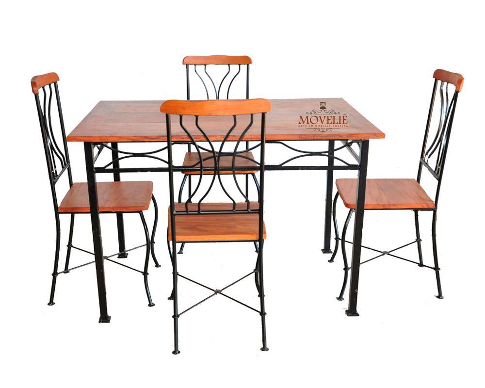 Mesa de Jantar Retangular em Ferro e Madeira
