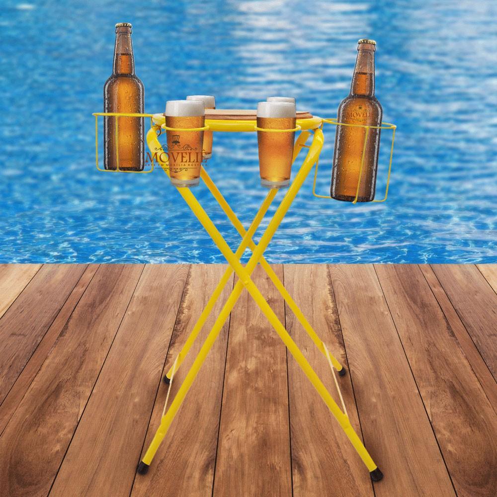 Mesa dobrável petisqueira cerveja artesanal - amarela