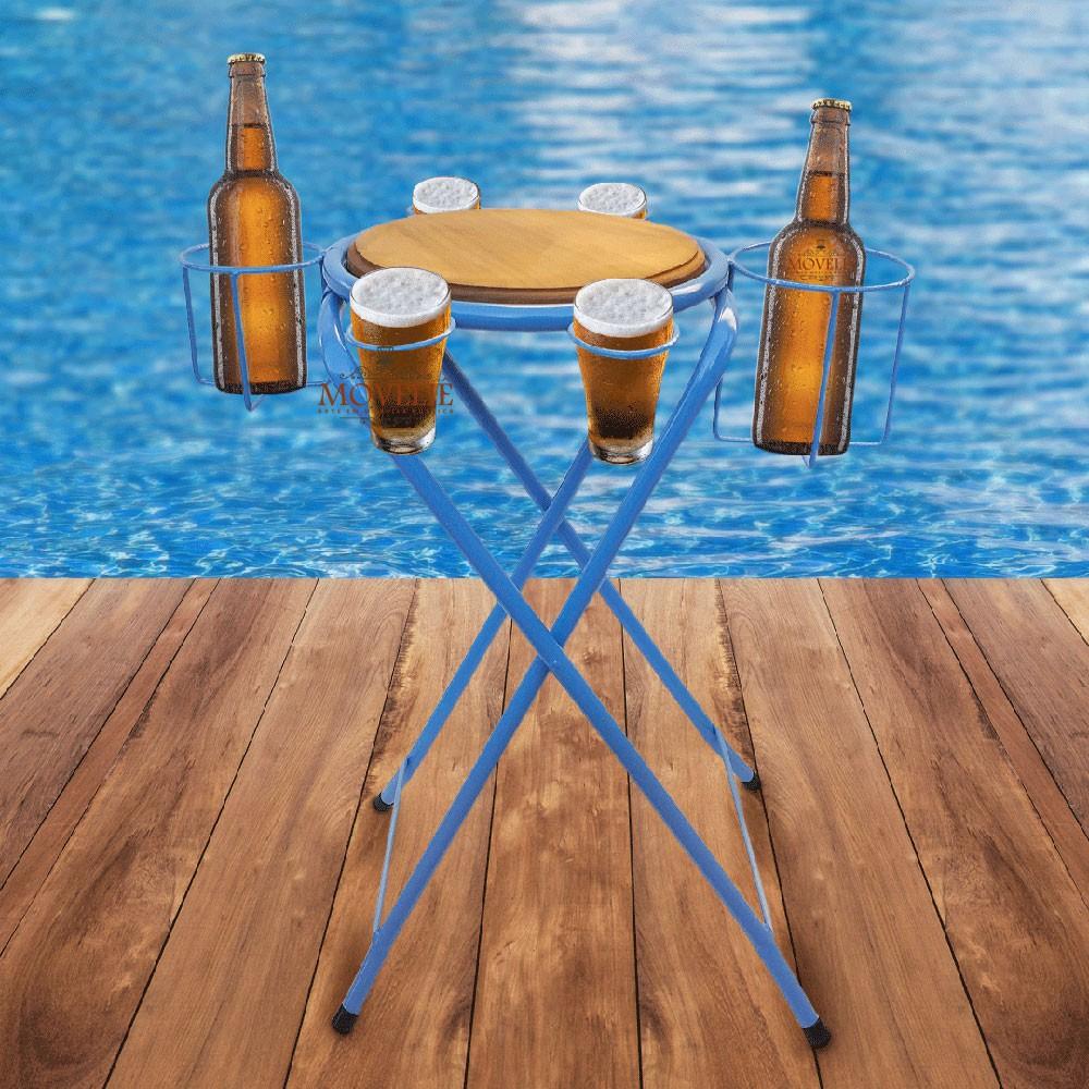 Mesa dobrável petisqueira cerveja artesanal - azul