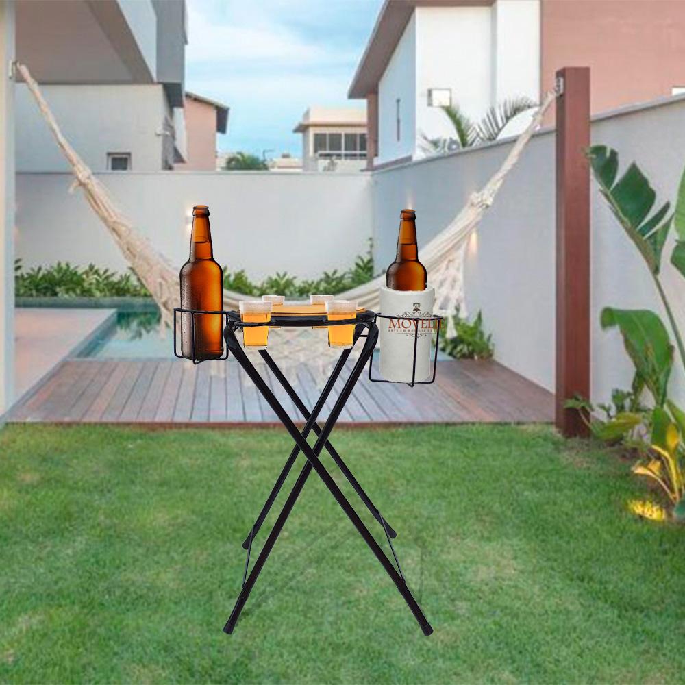 Mesa dobrável petisqueira cerveja artesanal preto