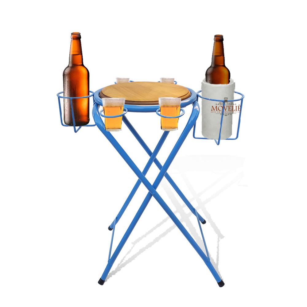 Mesa dobrável petisqueira cerveja artesanal azul