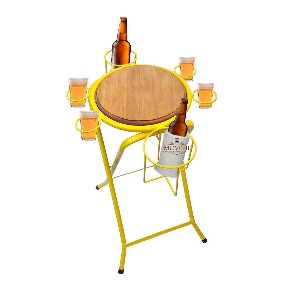 Mesa dobrável petisqueira cerveja artesanal amarelo