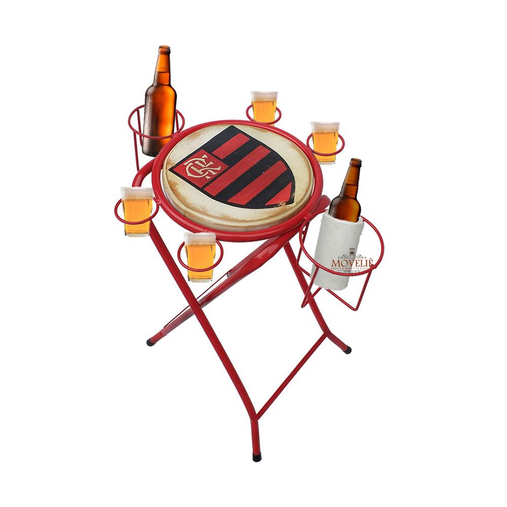 Mesa dobrável petisqueira flamengo vermelho