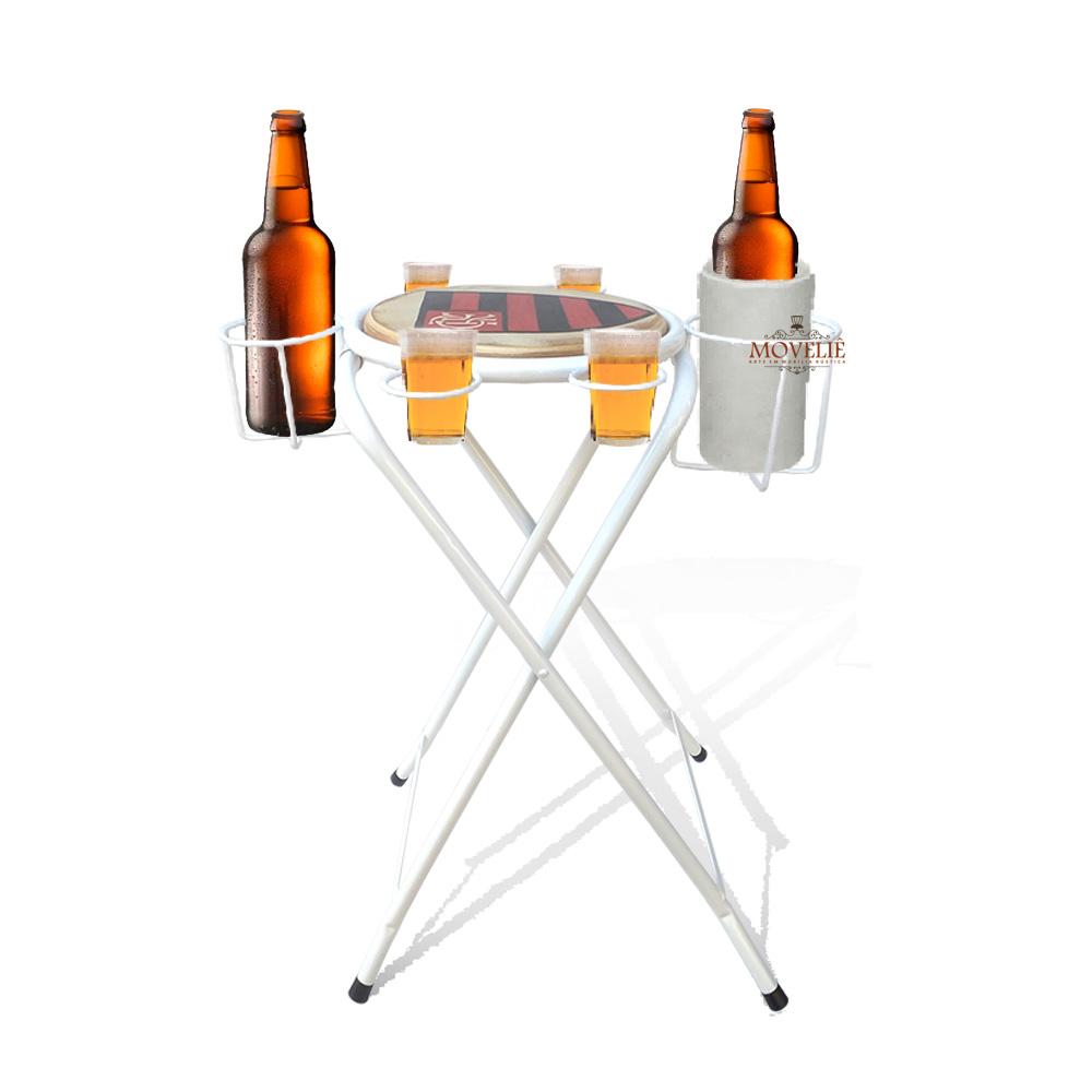 Mesa dobrável petisqueira flamengo branco