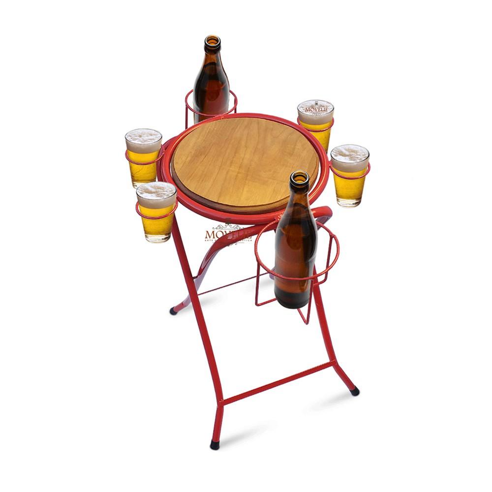 Mesa dobrável petisqueira cerveja artesanal - vermelha