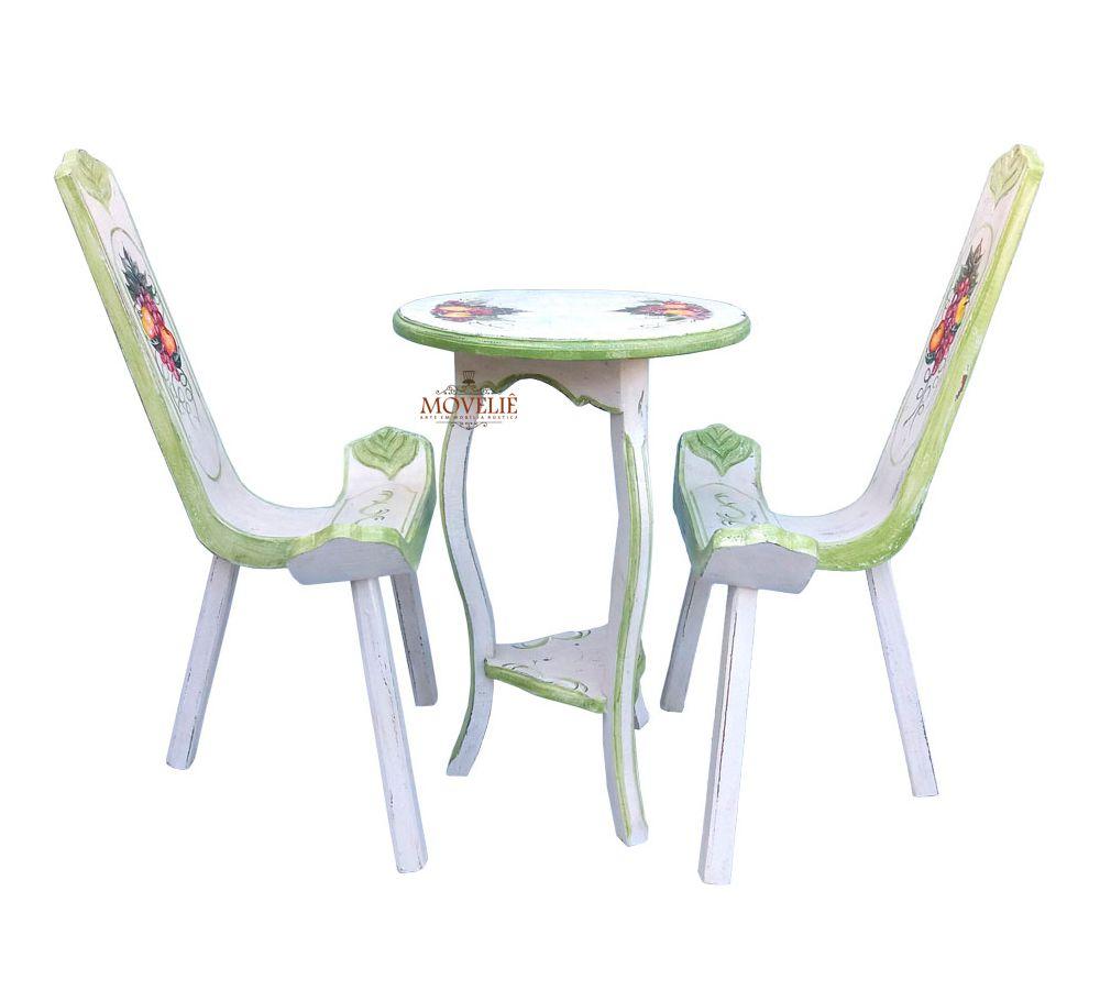 Mesa e Cadeiras Varanda e Jardim Estilo Provençal Francês - Branco