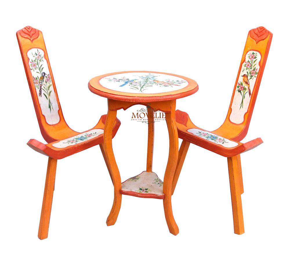 Mesa e Cadeiras Varanda e Jardim Estilo Provençal Francês - Laranja