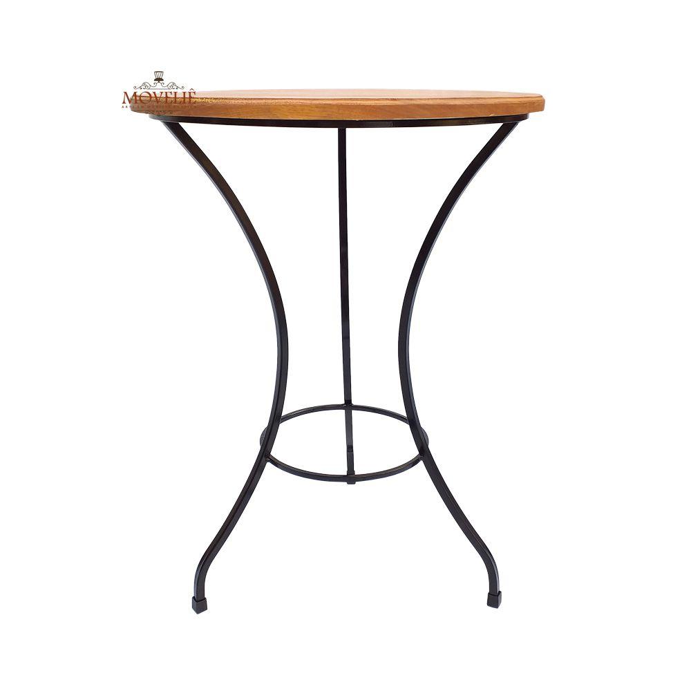 Mesa lateral redonda madeira maciça e ferro 60 cm