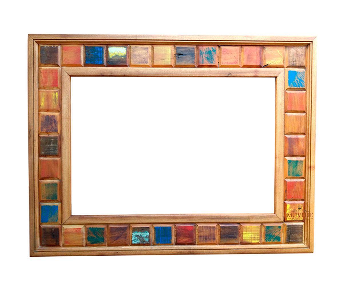 Moldura Espelho Decorativo para Banheiro - Madeira Demolição 90x70