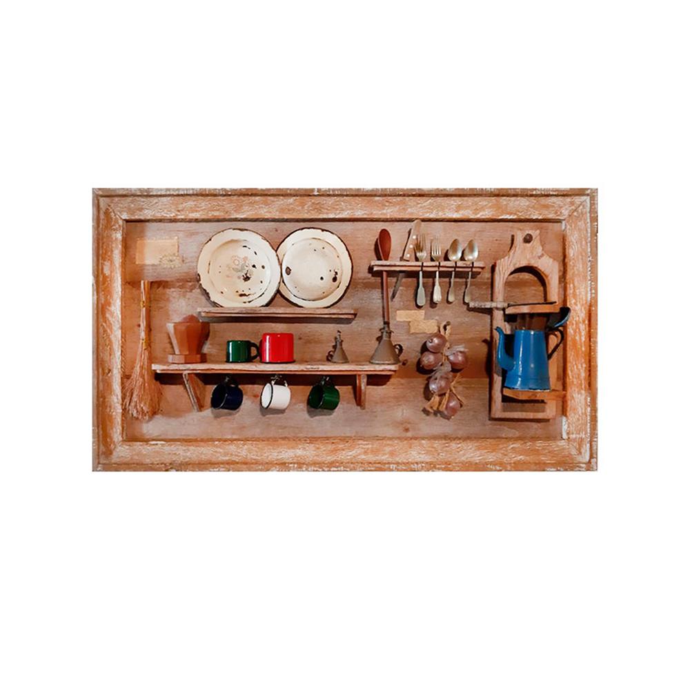 Quadro coisas da roça mineira rústico painel madeira maciça