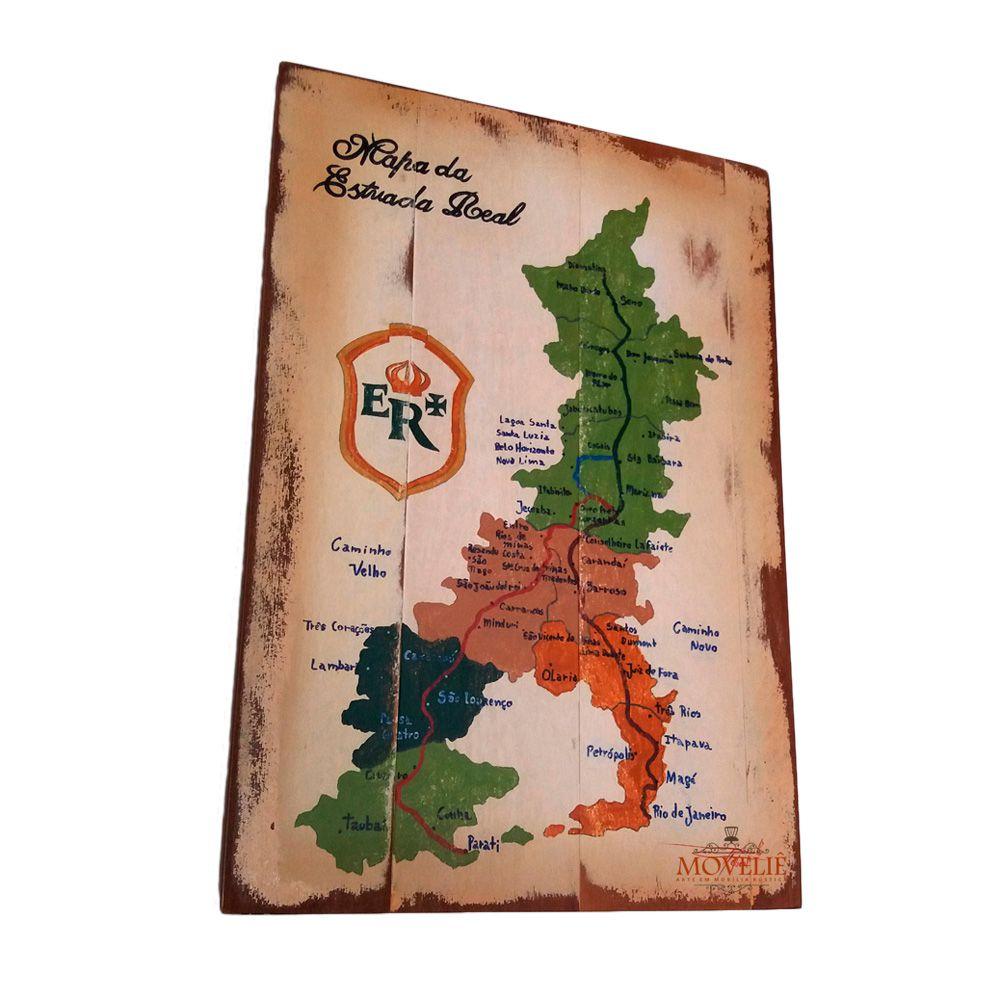 Quadro Mapa Estrada Real - Madeira Maciça 40x60