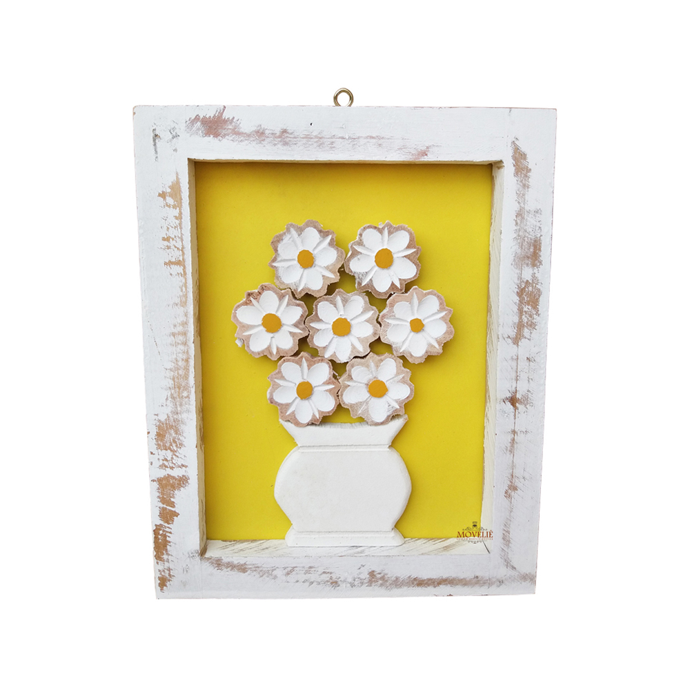 Kit quadro rústico flor colorida em madeira amarelo