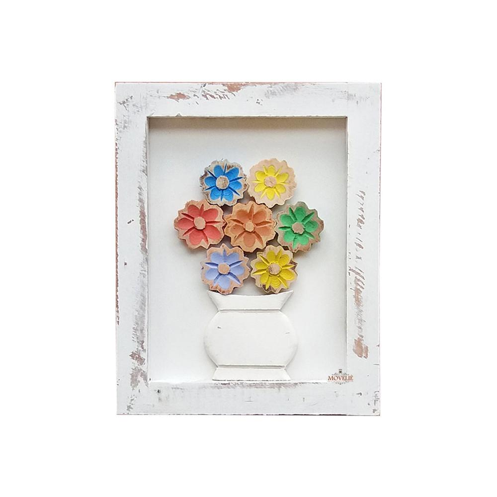 Kit quadro rústico flor colorida em madeira branco