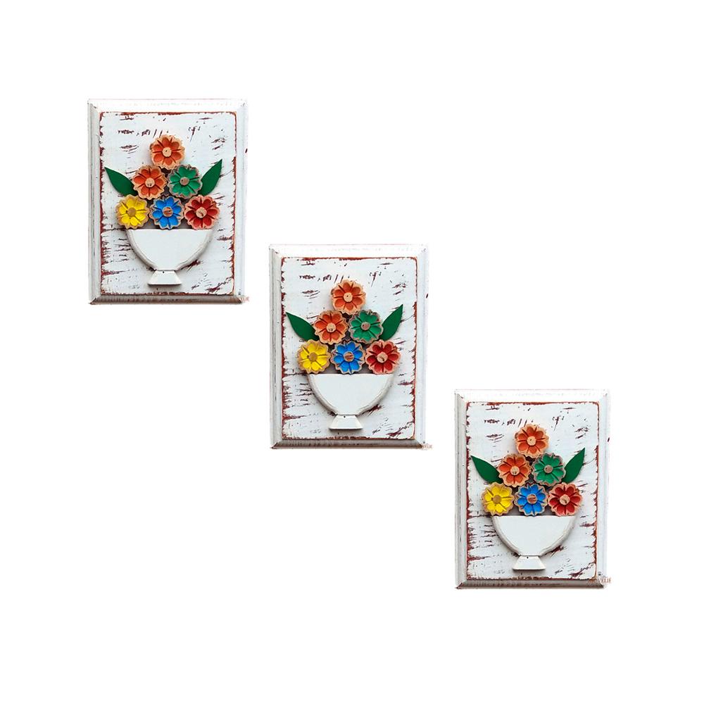 Kit quadros rústicos flor colorida em madeira branco