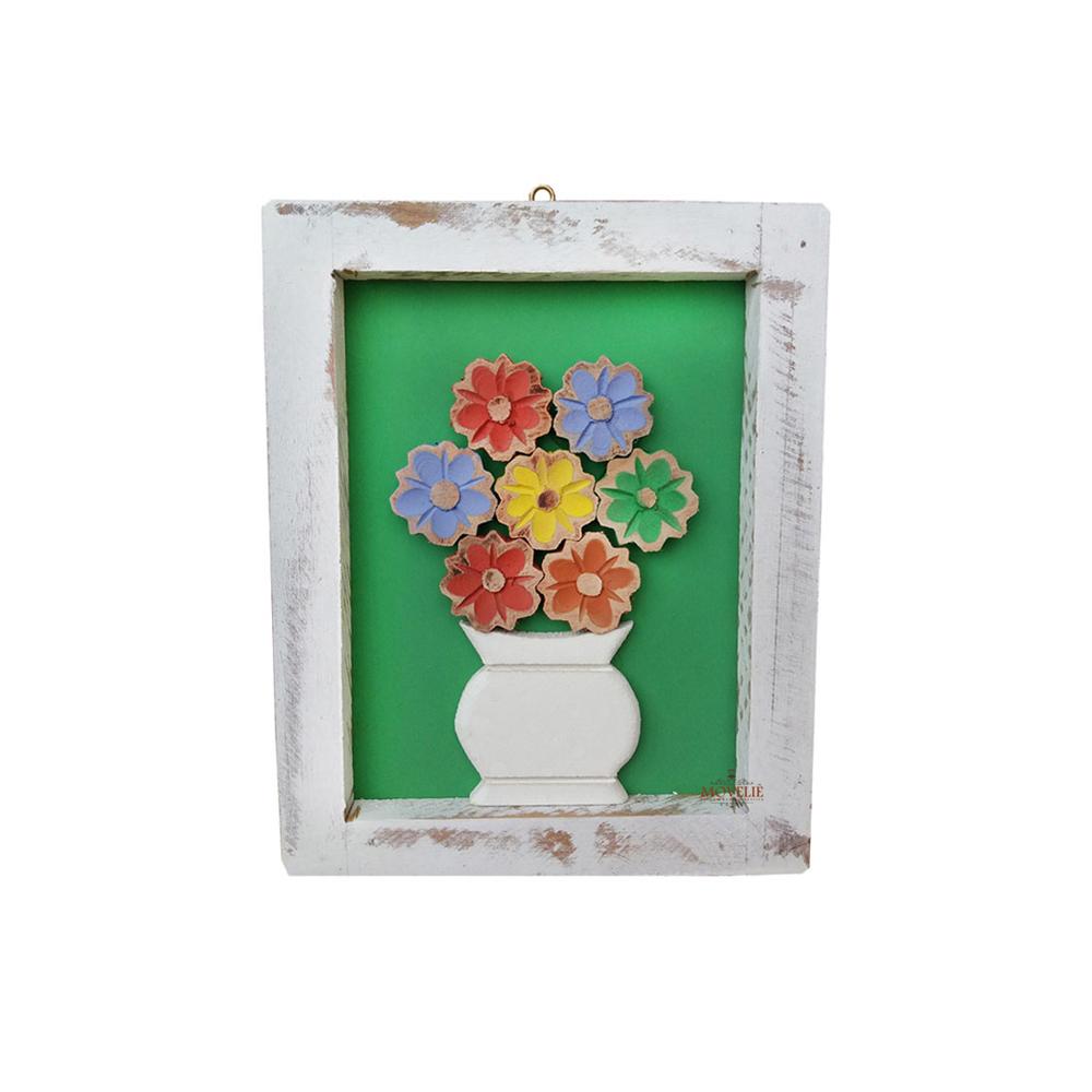 Kit quadro rústico flor colorida em madeira verde