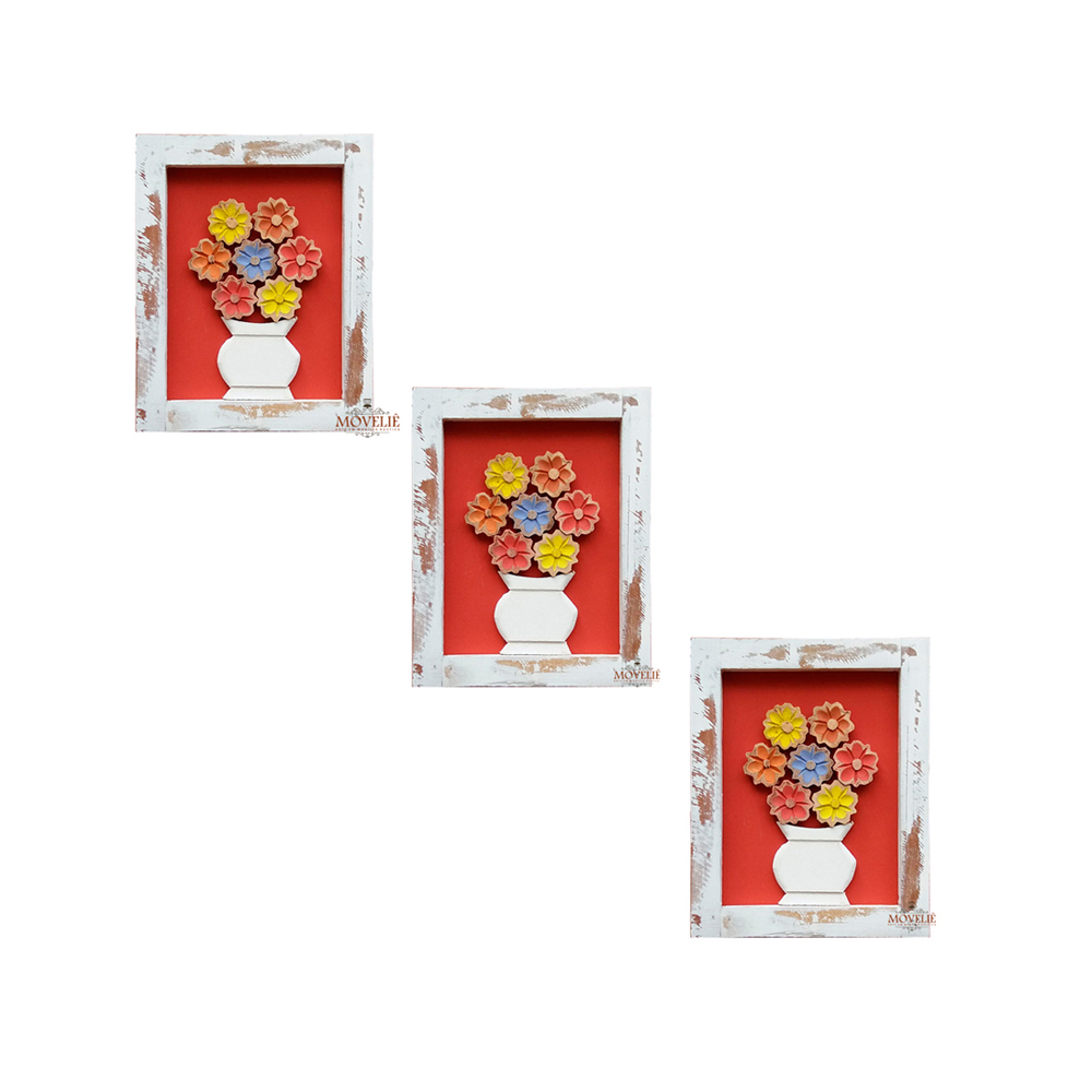 Kit quadro rústico flor colorida em madeira vermelho