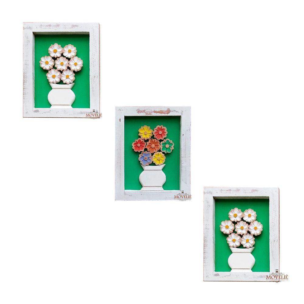 Quadro Rústico Flores em Madeira 25x20