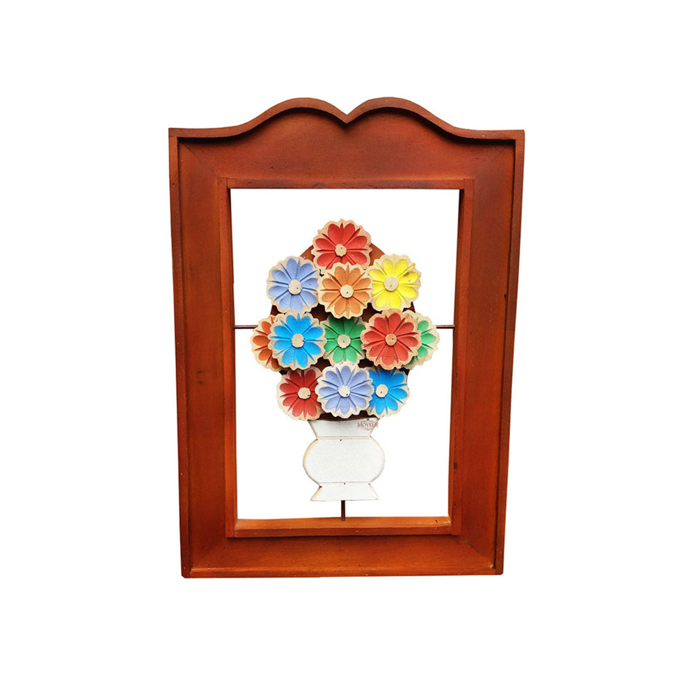 Quadro rústico artesanal vazado flores coloridas marrom